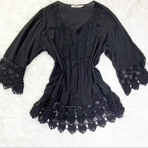 Black blouse with lace trim